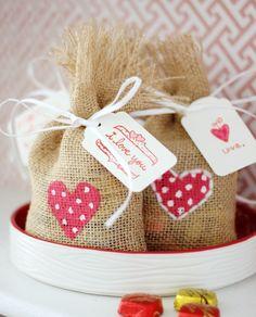 Burlap Valentine Treat Bags