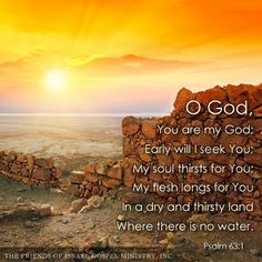 O God, You are my God; Early will I seek You; My soul thirsts for You; My flesh longs for You In a dry and thirsty land Where there is no water. (Psalm 63:1)