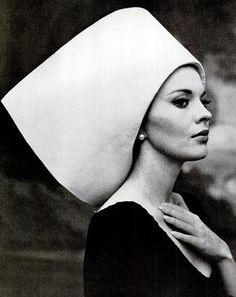 Jean Seberg in hat by Yves Saint Laurent, photo by Carlo Bavagnoli, 1963 ~