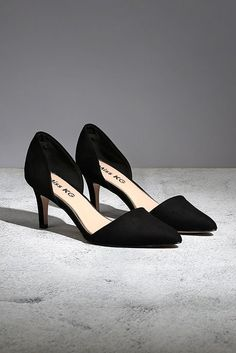 c2c4f32f5d5e Celina Black Mid Heel Court Shoes By Miss KG