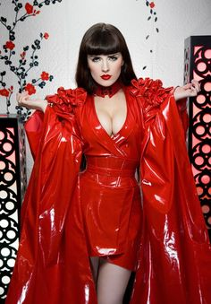 Beautifully crafted red patent vinyl kimono with tiny bows at the shoulders, waist cincher, and matching choker.