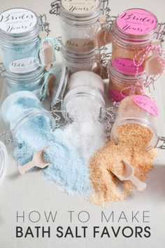Wedding Gifts Diy Set of 6 - Sugar Scrub Favors - 4 oz. each - Mason Jars - Bath Salts Favors - 10 All natural Bath Salts Recipe, Mini Pinatas, Do It Yourself Wedding, Diy Scrub, Diy Spa, Homemade Beauty Products, Beauty Recipe, Belleza Natural, Home Made Soap