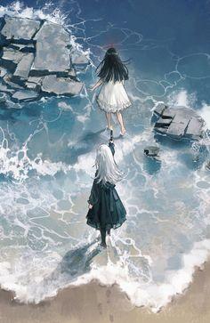 Cre weibo: 藤原海藻 Couple girl, nữ tóc trắng và nữ tóc đen.