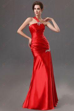 Hülle Ein-Schulter Pleate Und Perlen bodenlangen Schnürschuhe Abendkleider203,42 €   116,24 €
