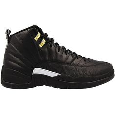 Nike Mens Air Jordan 12 Retro Black/White-Metallic Gold Leather ($332) ❤ liked on Polyvore featuring men's fashion, men's jewelry and mens watches jewelry
