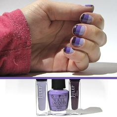 purple striped nails  from light to dark: Julep renee, OPI a grape fiti, Julep gayle