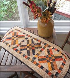 Fall Table Runner:  Free pattern at Cornbread and Beans Quilting
