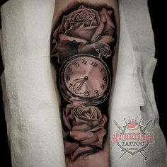 archie aka noodles balck and grey clock and rose's info@hammersmithtattoo