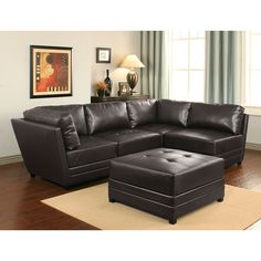 This fashionable set includes a beautiful dark brown finish with stylish bonded leather. The high-density foam cushioning is relaxing in any home.