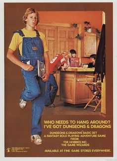 Dungeons and Dragons (AD) advertisements in magazines, late 1970s to 1980s.