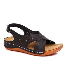 9e57bd0171630 Black Cutout Crisscross Sandal Criss Cross