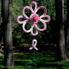PINK Horseshoe Garden Art FLOWER breast by BlacksmithCreations