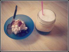 "relax from Greece! freddo cappuccino with greek ""roxaki"" yogurt ice cream and homemade strawberry jam!"