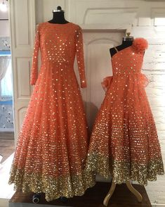 happy women's day! A mother daughter duo our peach shimmer gowns for the special day… Little Girl Pageant Dresses, Baby Girl Dresses, Baby Dress, Long Frocks For Kids, Skirts For Kids, Mom Daughter Matching Dresses, Latest Bridal Dresses, Bridal Outfits, Gown Party Wear