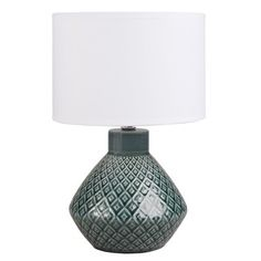 Lampe en céramique bleue abat-jour blanc
