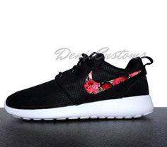 wholesale dealer dd72c 044fb Nike Roshe Run One Black with Custom Red Pink Rose Floral Print
