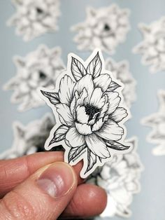 Peony Sticker, Black and White Floral Sticker, Vinyl Sticker, Botanical Line Drawing Sticker, Flower Illustration Traditional Tattoo Black And White, Traditional Tattoo Flowers, Floral Tattoo Design, Tattoo Designs, Tattoo Ideas, Botanical Line Drawing, Botanical Illustration Black And White, Succulent Tattoo, Japanese Flower Tattoo