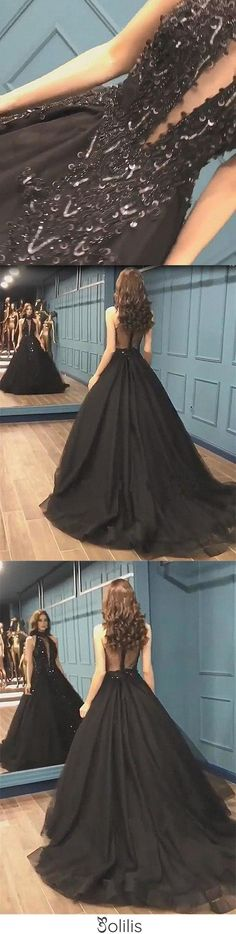 Sexy Ball Gown High Neck Black Tulle V Neck Sequins Party Dresses, Prom Dresses SJS15594, This dress could be custom made, there are no extra cost to do custom size and color