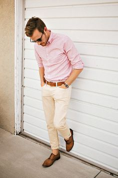 This pink shirt with a cream pair of chino's is a great way to look smart but keep yourself cool during the summer months!