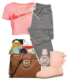 """""""We don't even need to talk about it~Kehlani"""" by her-niya on Polyvore featuring NIKE, Michael Kors and UGG Australia Lit Outfits, Cute Lazy Outfits, Chill Outfits, Dope Outfits, Casual Summer Outfits, Stylish Outfits, Teen Fashion, Fashion Outfits, Style Fashion"""