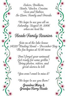 Family Reunion Invitation Featuring A Tree With Deep Roots And
