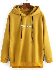 Sweat-shirt à capuche décontracté imprimé lettres -jaune