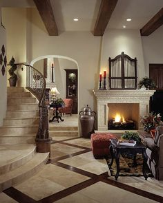 Floor design for kitchen? Foyer Flooring, Living Room Flooring, Floor Design, Tile Design, House Design, Tuscan Decorating, Great Rooms, My Dream Home, Home And Living