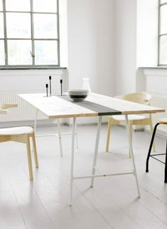 diy table top with Ikea vika lerberg trestle legs (on livet hemma).Ikea is a DIY-ers paradise, everything is waiting to be customized