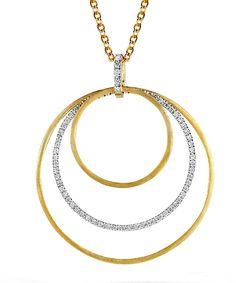 I. Reiss Gallery Diamond Triple Circle Pendant Necklace
