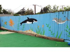 Painted Fence Mural in Playground