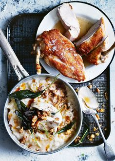 crispy chicken breast with cauliflower risotto via donna hay