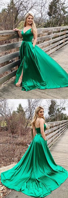 green long pom dress homecoming dress, simple straps green long prom dress with side slit, party dress M2670