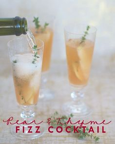 Pear & Thyme Fizz Cocktail recipe, c/o the lovely ladies at Skirt PR! Perfect for holiday wedding festivities! #cocktail #peach #holiday #recipe http://www.kumbuya.com/content/pear-thyme-fizz-cocktail-2047/