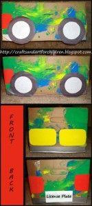 Upcycled Cardboard Box Car Craft ~ Art Playdate - Artsy Momma