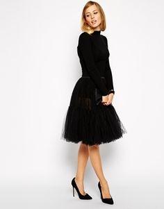 ASOS Full Midi Tulle Skirt - Black