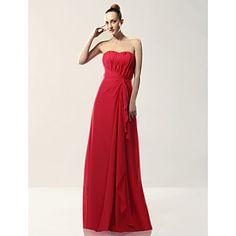 Sheath/ Column Strapless Floor-length Draped Chiffon Over Mading Bridesmaid/ Wedding Party Dress – USD $ 99.99