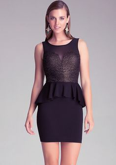 Lace & Ponte Peplum Dress - Little Black Dresses | bebe