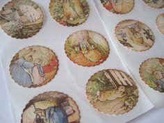 Vintage Style Baby Stickers - Baby Shower Invites - Peter Rabbit - Beatrix Potter. $4.25, via Etsy.