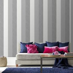 Graham & Brown Graham Brown Java Stripe Gray Wallpaper u. Reports - all wall decor - home decor - Macy& Graham & Brown Graham Brown Java striped gray wallpaper Striped Wallpaper Design, Wallpaper Designs, Silver Wallpaper, Brown Wallpaper, Wall Wallpaper, Paint Stripes, Striped Walls, Contemporary Wallpaper, Living Room Ideas