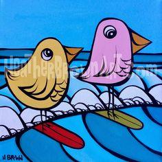 Surfing Birds by Heather Brown HeatherBrownArt.com #surfart #heatherbrown #surfingbird #birds #birdart #hawaii