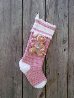 """Pink Gingerbread Crocheted Christmas Stocking, 16 1/2"""""""