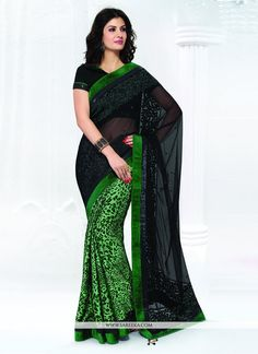 Be the sunshine of everyone's eyes dressed with this stunning green net designer saree. The ethnic embroidered and patch border work within the dress adds a sign of splendor statement with your look...