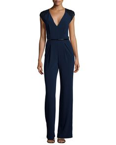 Embellished Cap-Sleeve V-Neck Jumpsuit, Navy by Halston Heritage at Neiman Marcus.