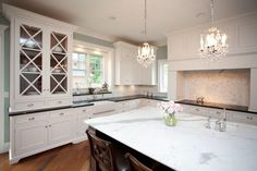 Suzie: Oakley Home Builders - Lovely two-tone kitchen with sage green walls paint color, white ...