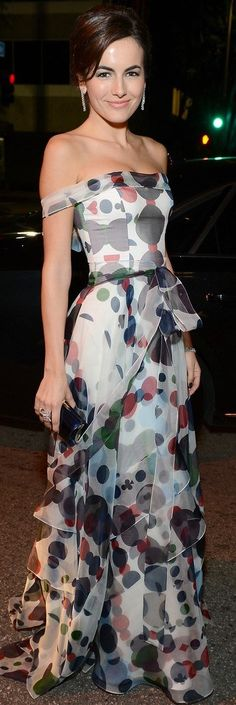 Camilla Belle in Carolina Herrera love the design of the dress but not the pattern