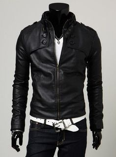 European and American men's Fashion motorcycle leather collar Slim Fit coat jacket Men's brand  cool leather jacket