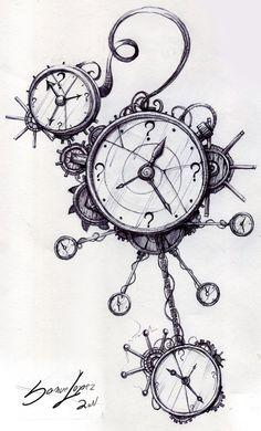 Clockwork Steampunk Line Drawings | clockwork time machine by SamiRL