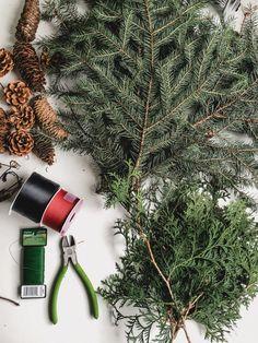 How to Make a Giant DIY Pine Wreath - Love Create Celebrate foraged greenery to add to DIY Pine Wreath for Christmas Christmas Advent Wreath, Christmas Greenery, Christmas String Lights, Christmas Swags, Xmas Wreaths, Rustic Christmas, Christmas Crafts, Christmas Holidays, Diy Garland