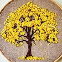 Embroidery hoop Cherry Blossoms, hand embroidered hand made one of a kind pink b. Hoop art Indian Jewellery machine embroidery linen with - Salvabrani how to make french knots embroidery hand embroidery stitches step by step Cherry tree blossom for A Hand Embroidery Stitches, Silk Ribbon Embroidery, Embroidery Hoop Art, Cross Stitch Embroidery, Machine Embroidery, Embroidery Designs, Embroidery Techniques, Geometric Embroidery, Embroidery Needles