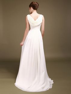 Love the drape! Cowl Neck Chiffon Wedding Gown with Beaded Shoulder Strap